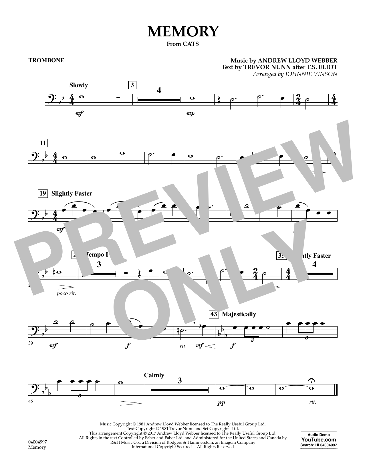 Memory (from Cats) (arr. Johnnie Vinson) - Trombone Sheet Music