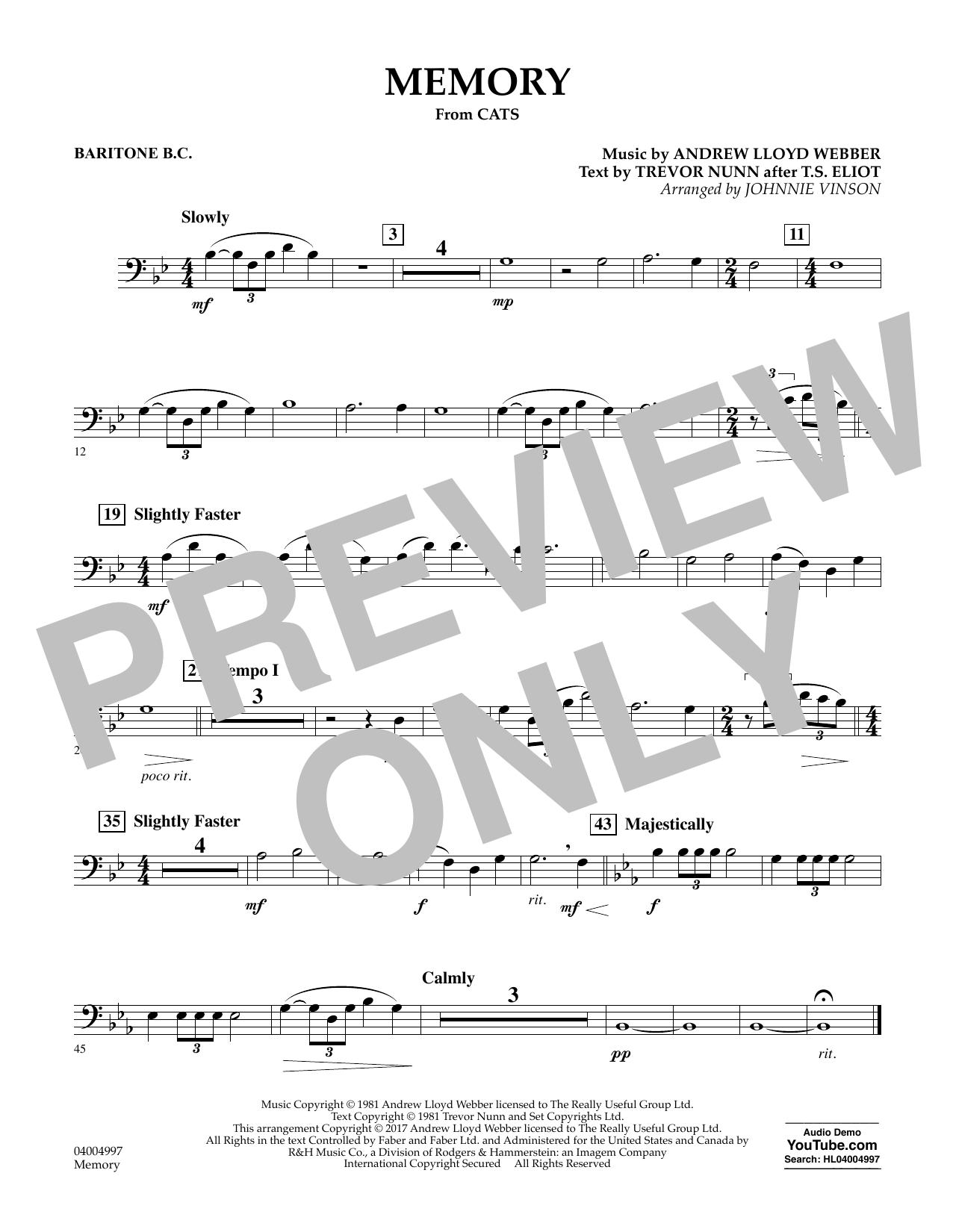 Memory (from Cats) (arr. Johnnie Vinson) - Baritone B.C. Sheet Music