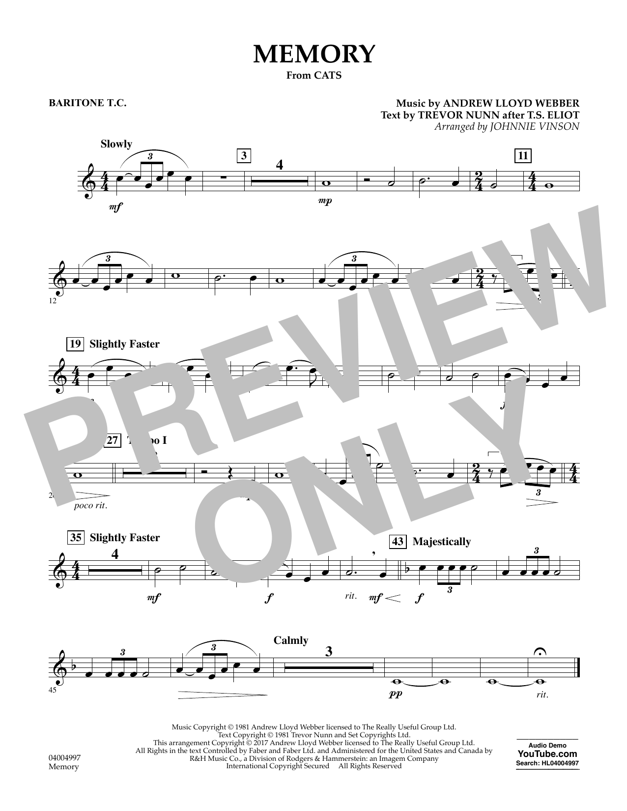 Memory (from Cats) (arr. Johnnie Vinson) - Baritone T.C. Sheet Music