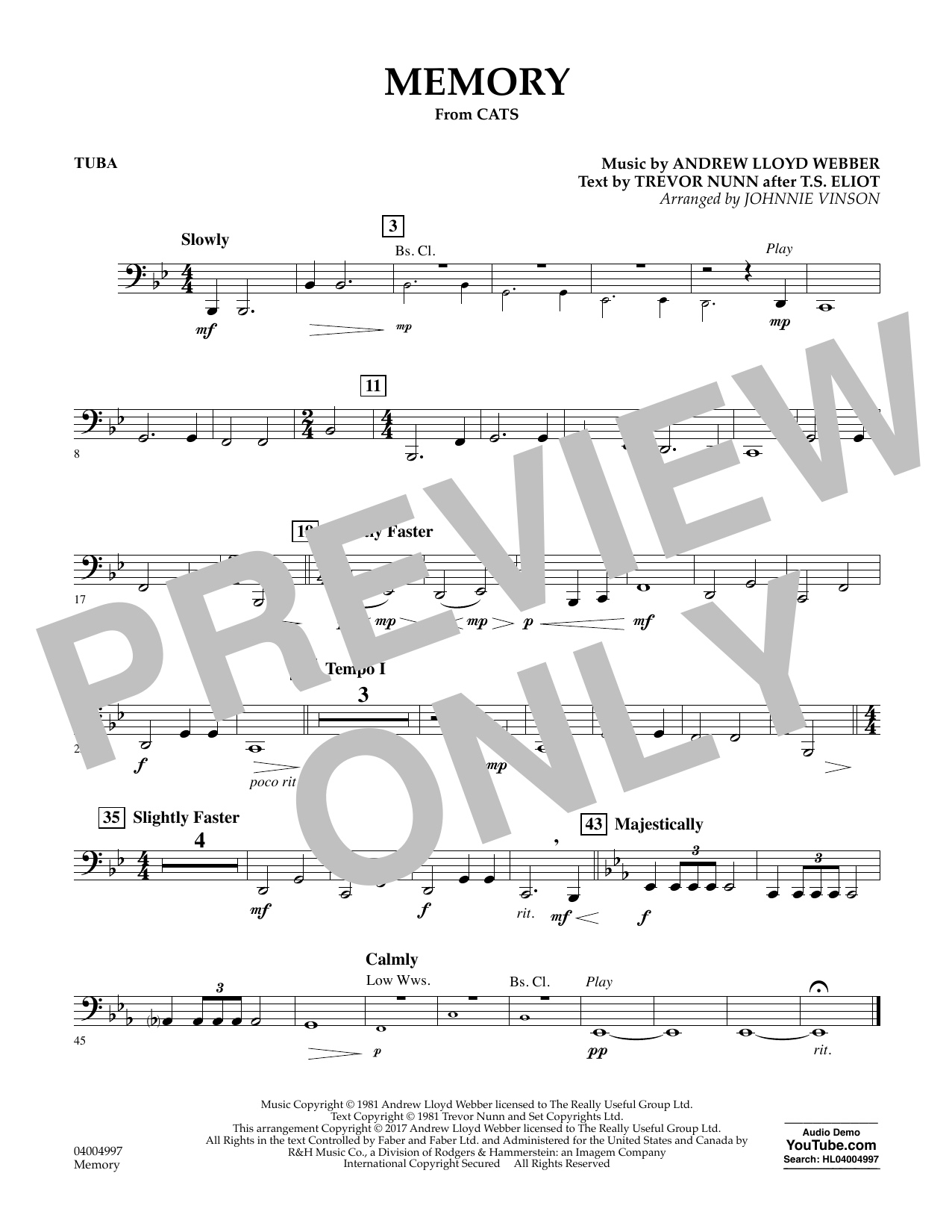 Memory (from Cats) (arr. Johnnie Vinson) - Tuba Sheet Music