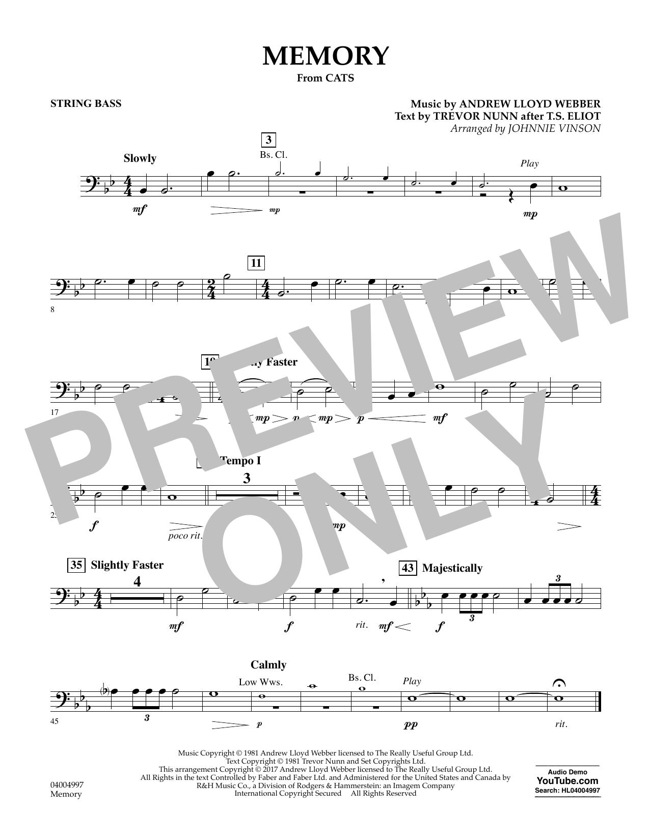 Memory (from Cats) - Bass Sheet Music