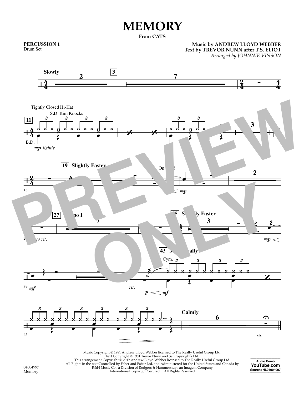 Memory (from Cats) - Percussion 1 Sheet Music