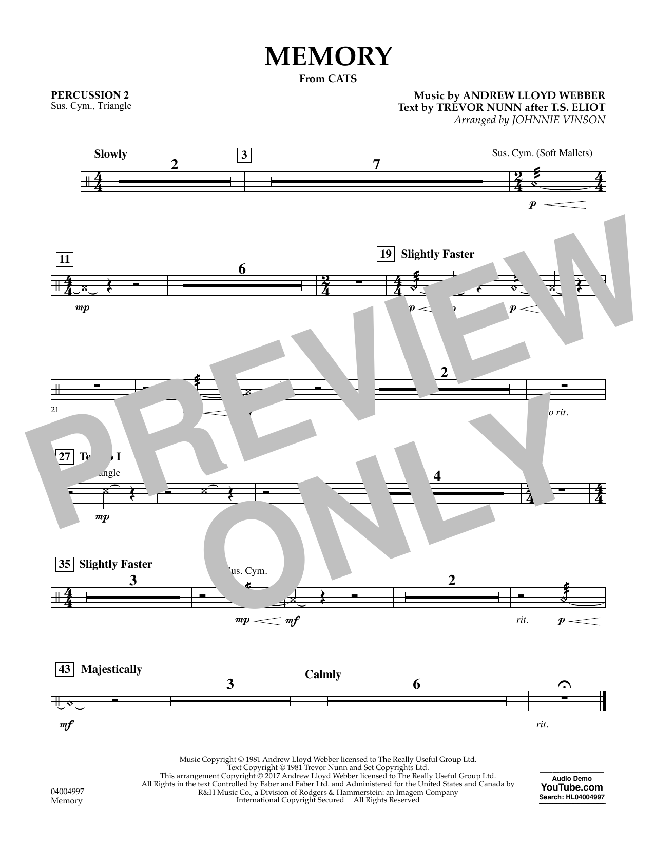 Memory (from Cats) - Percussion 2 Sheet Music