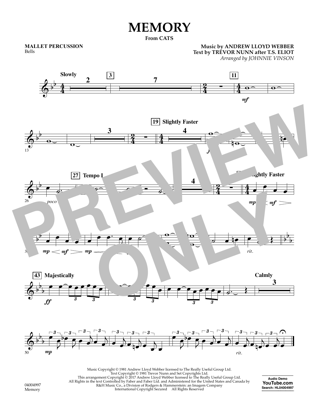 Memory (from Cats) (arr. Johnnie Vinson) - Mallet Percussion Digitale Noten