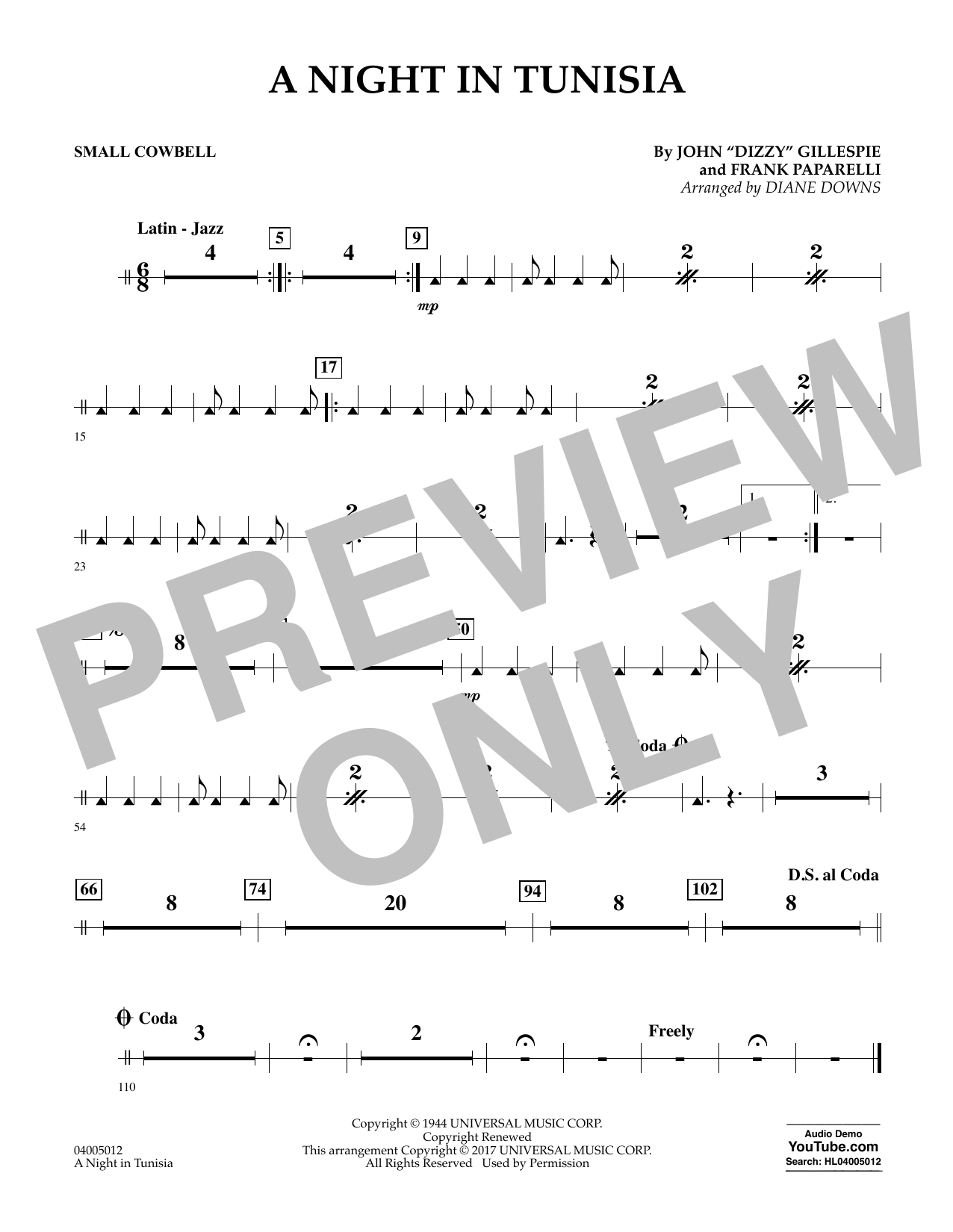A Night in Tunisia - Cowbell Sheet Music