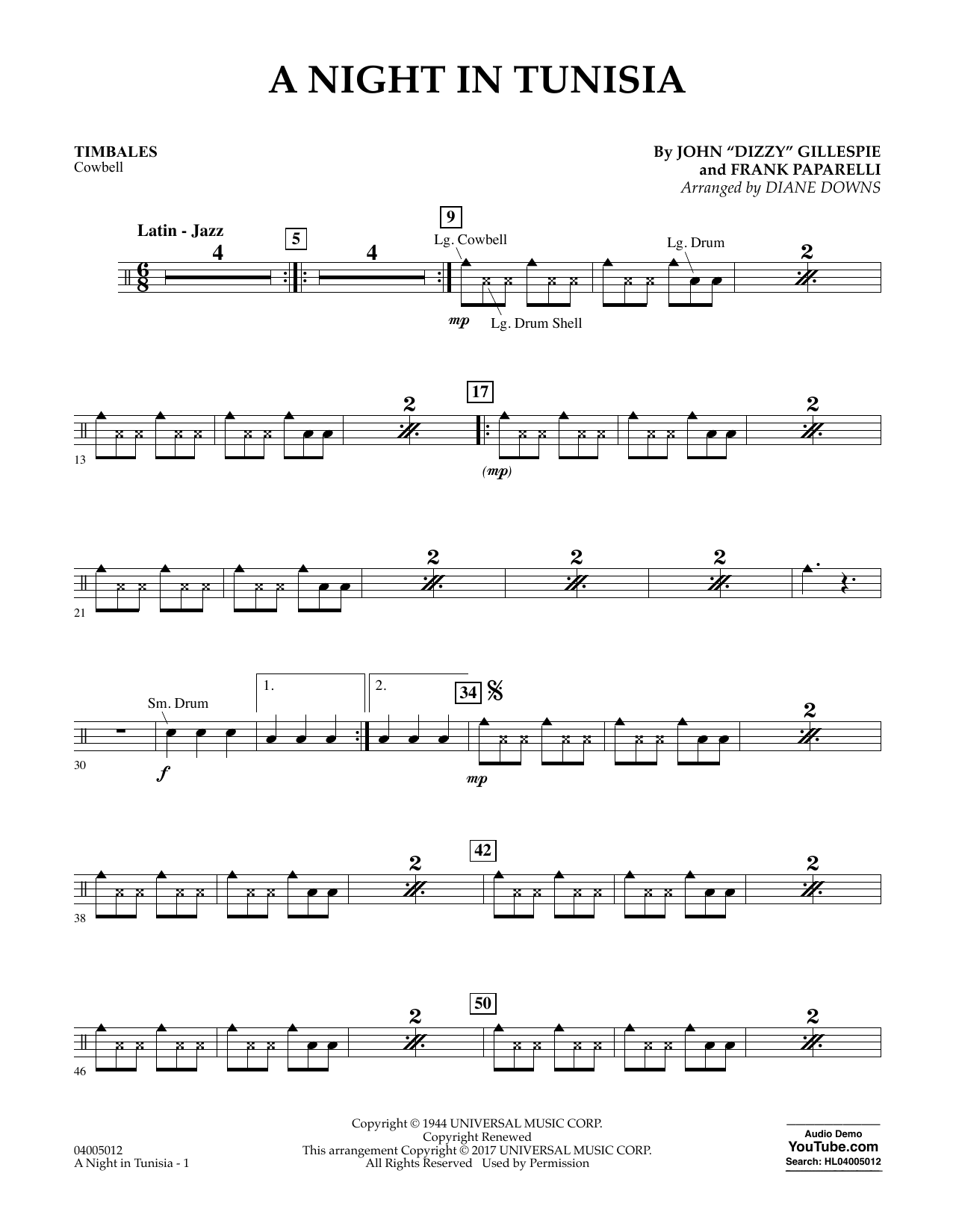 A Night in Tunisia - Timbales Sheet Music