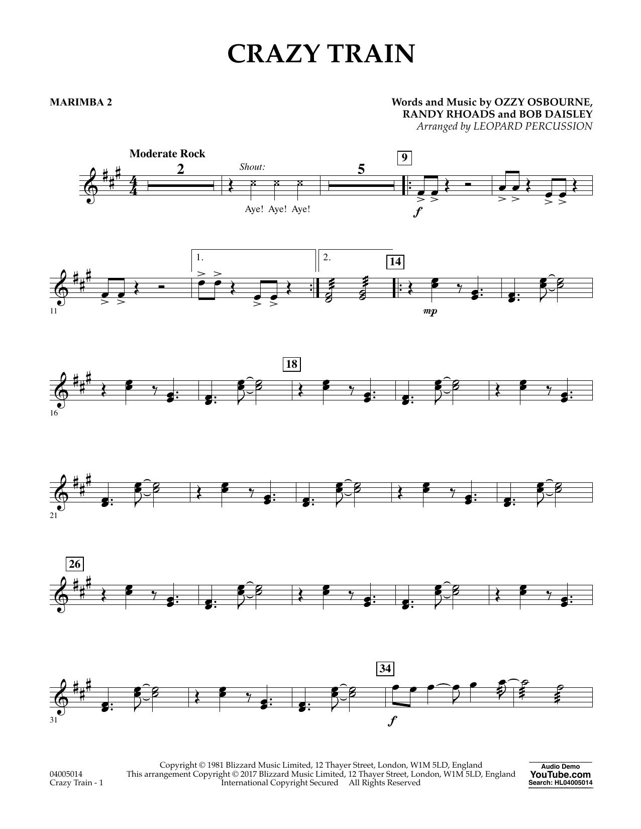 Crazy Train Marimba 2 At Stantons Sheet Music