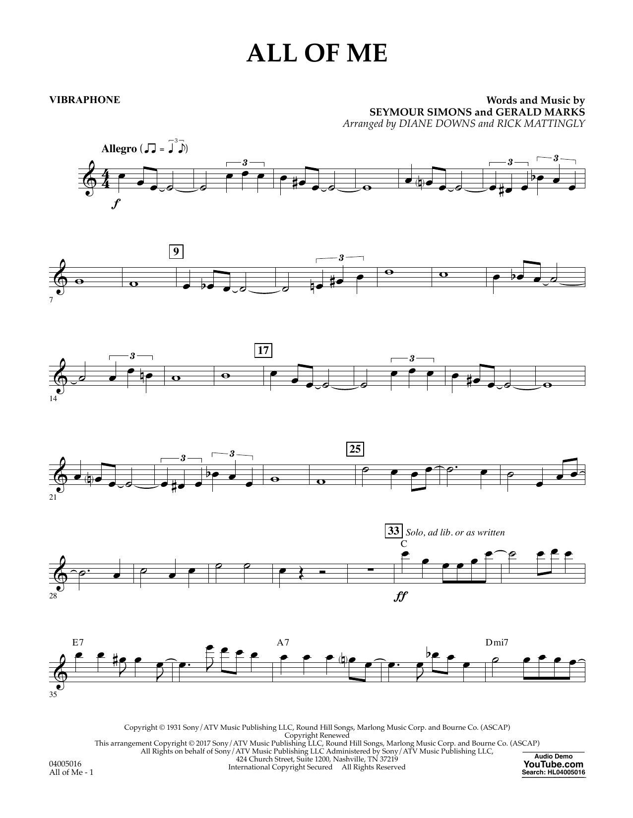 All of Me - Vibraphone Sheet Music