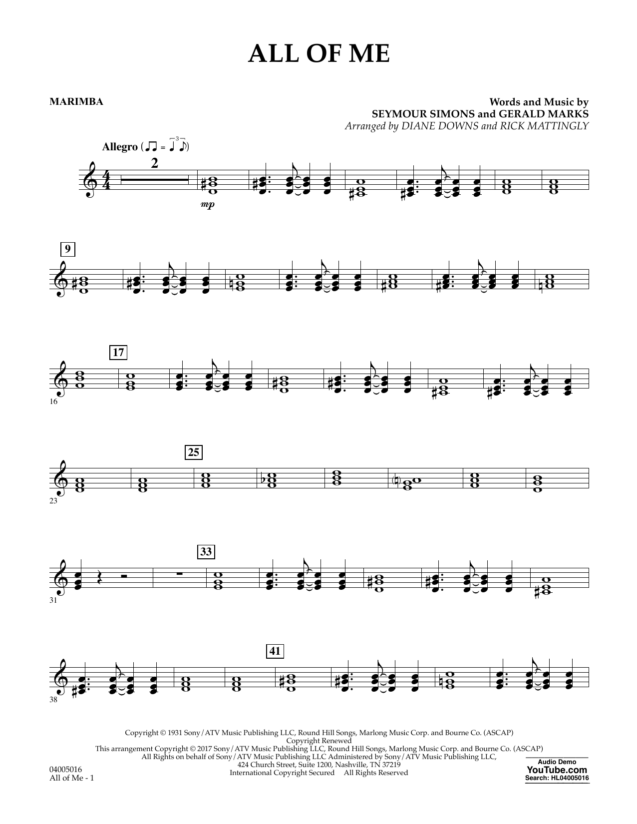 All of Me - Marimba Sheet Music