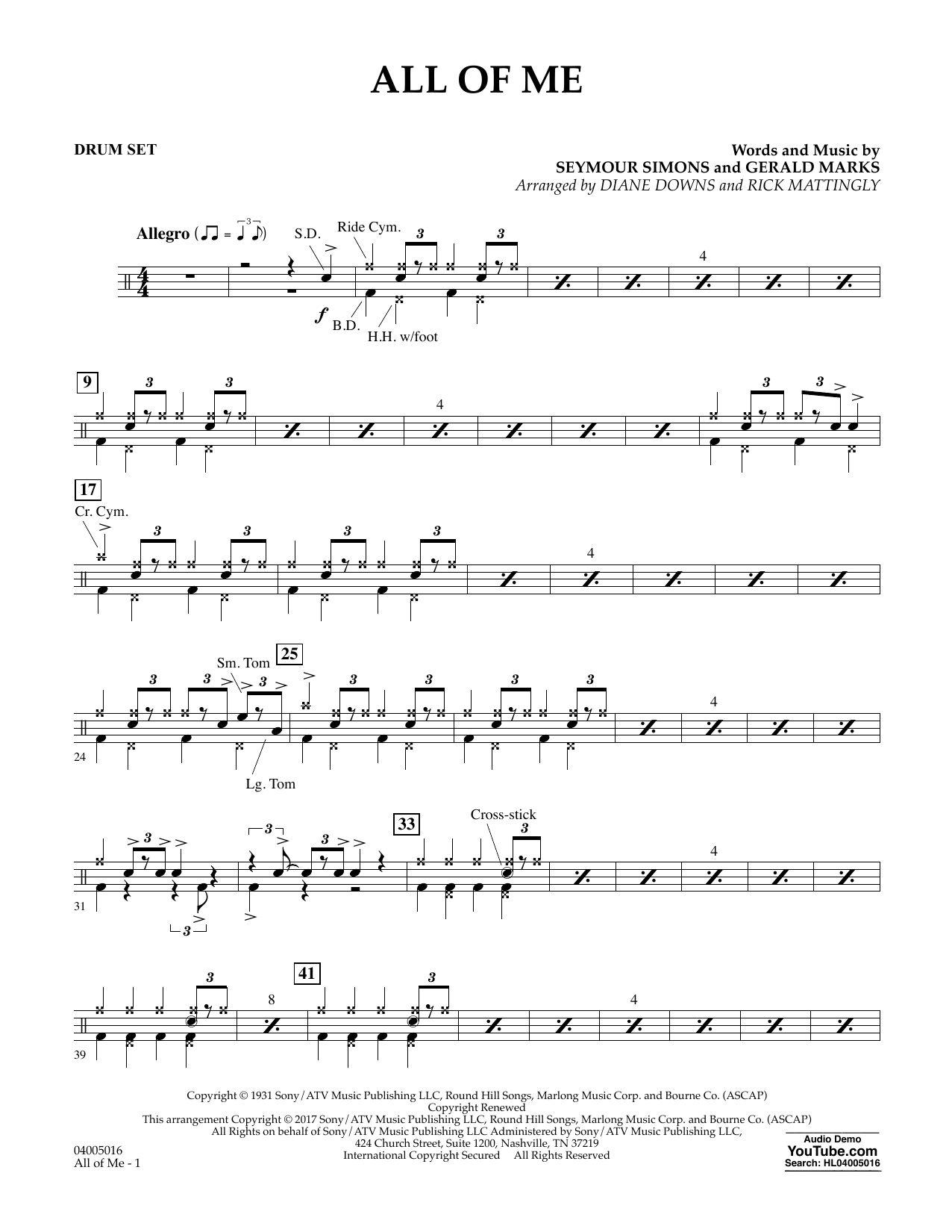 All of Me - Drum Set Sheet Music