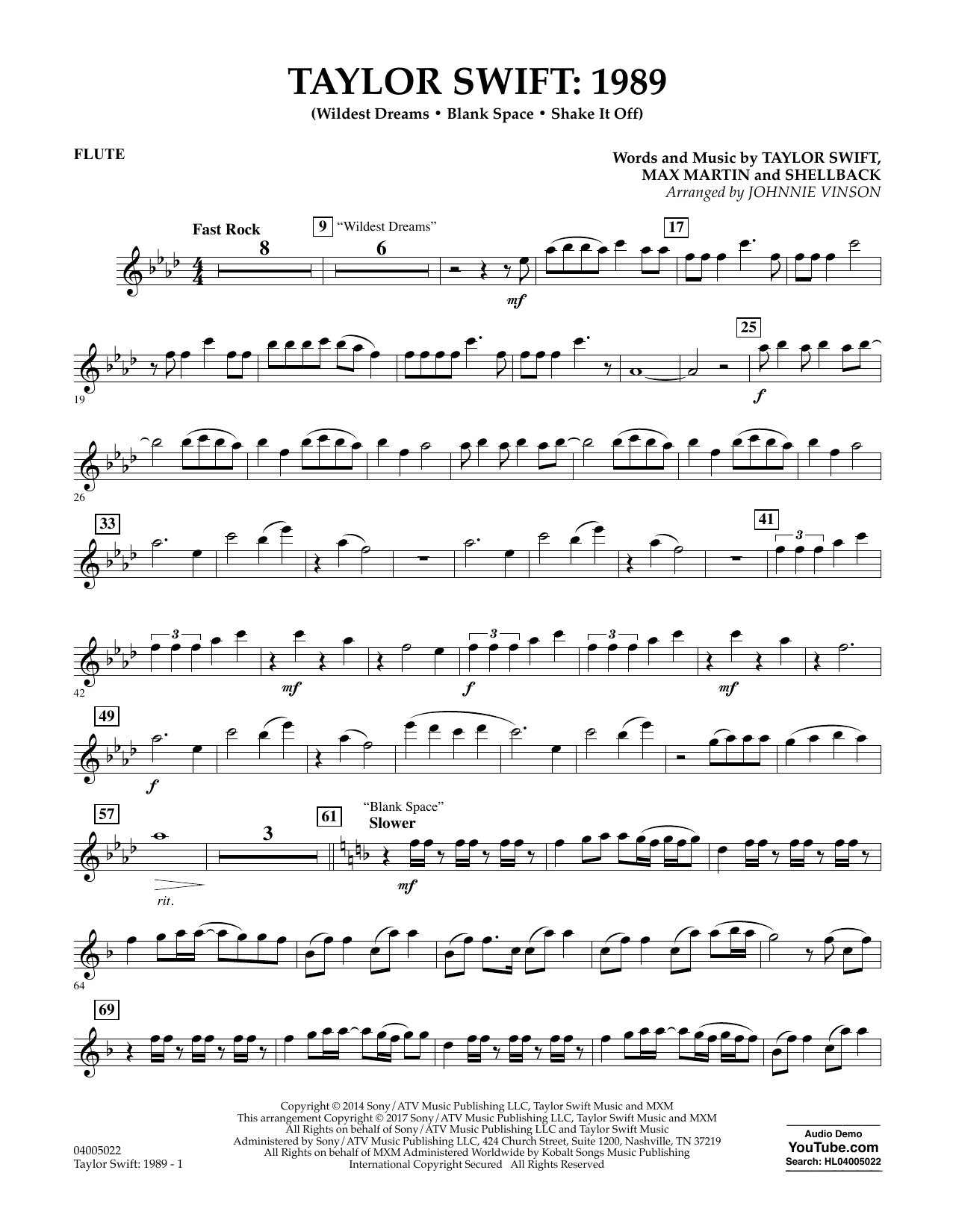 Taylor Swift: 1989 - Flute Sheet Music