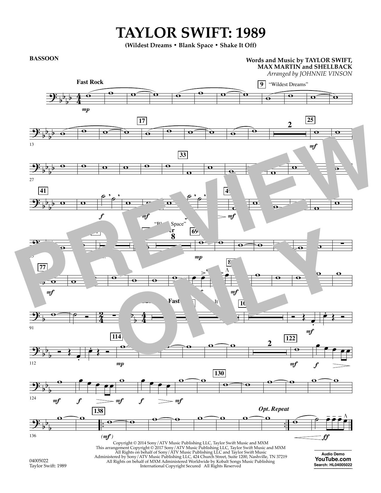 Taylor Swift: 1989 - Bassoon (Concert Band)