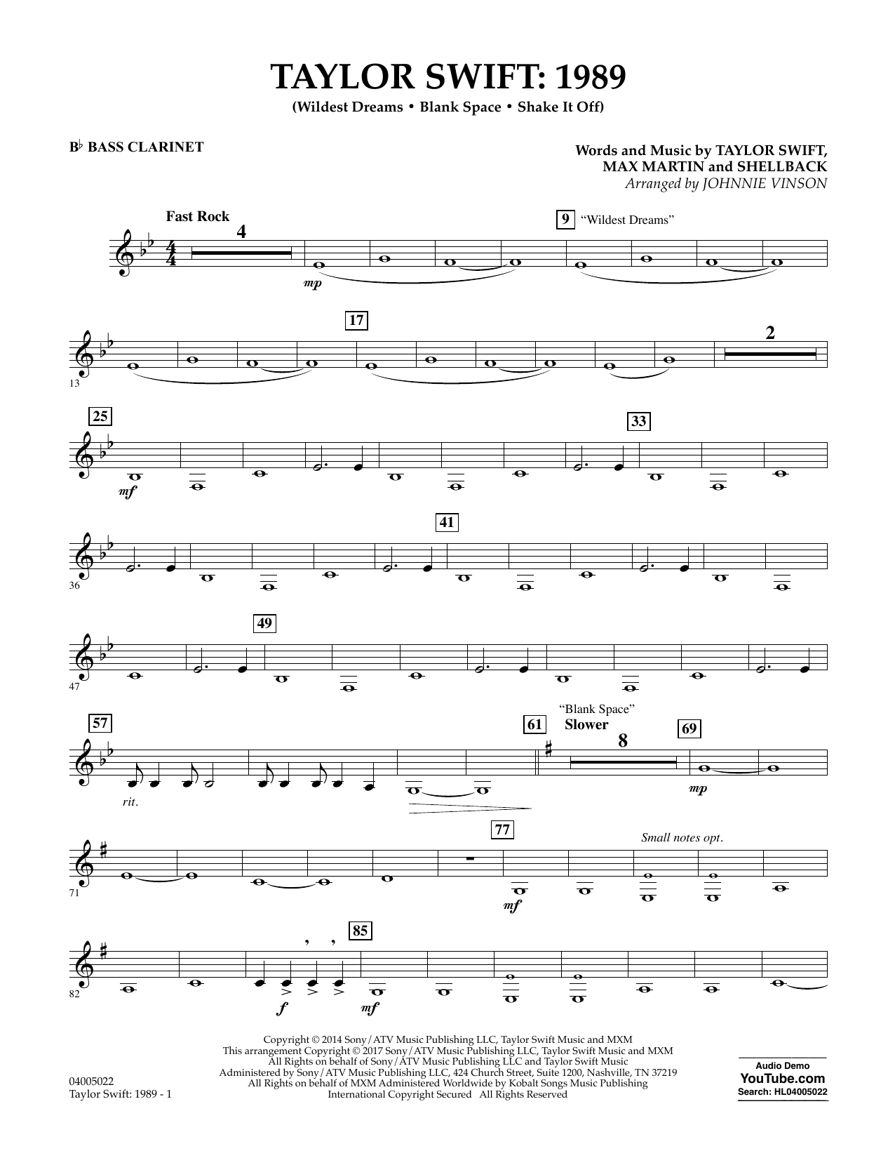 Taylor Swift: 1989 - Bb Bass Clarinet Sheet Music