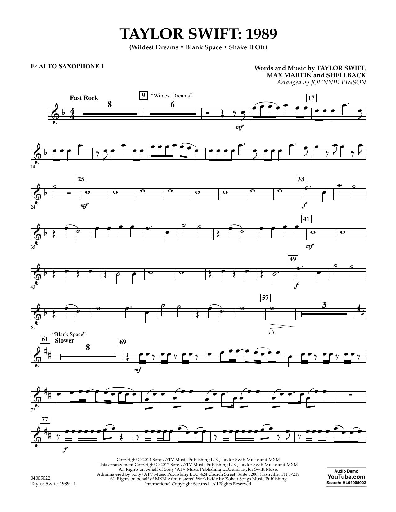 Taylor Swift: 1989 - Eb Alto Saxophone 1 Sheet Music