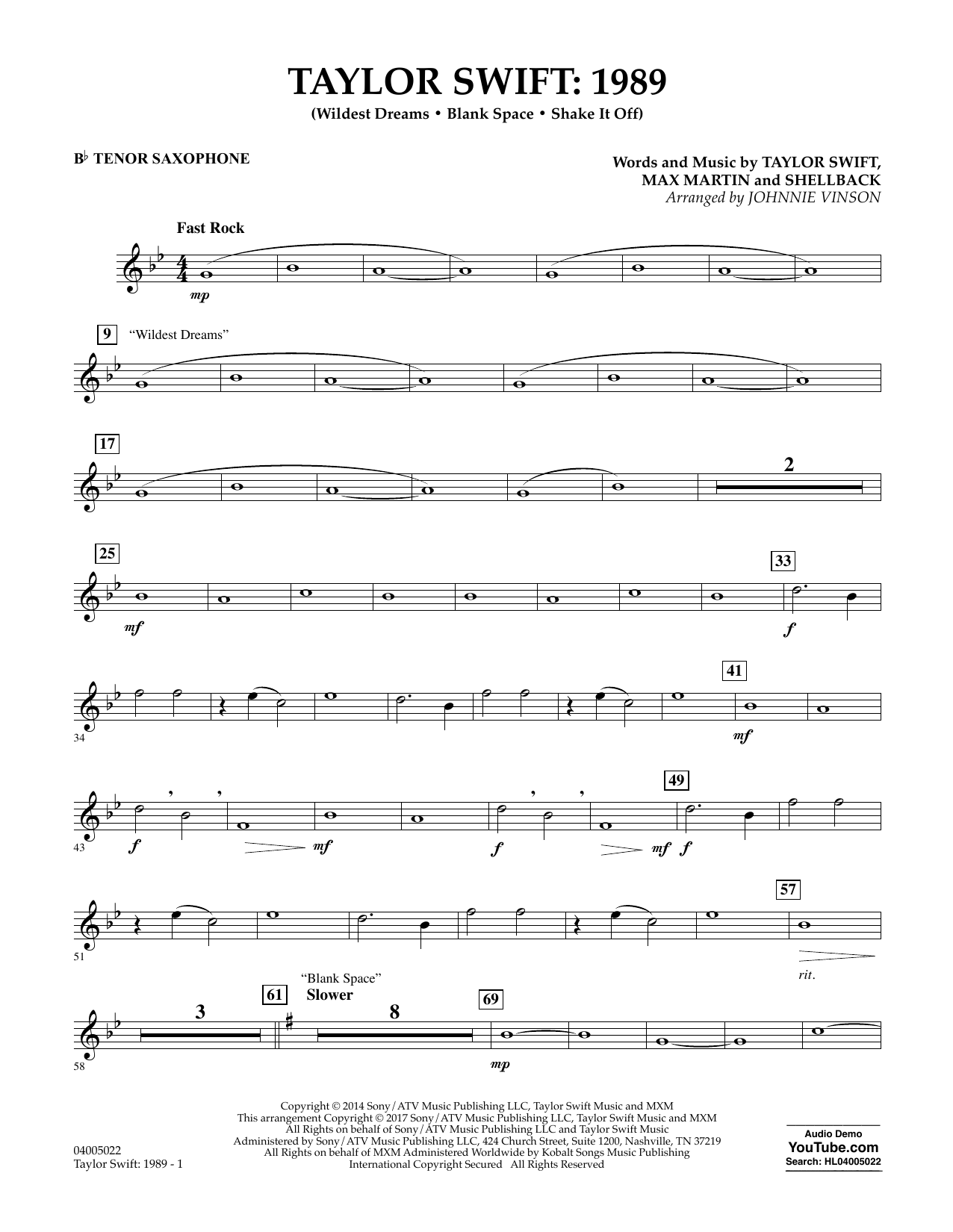Taylor Swift: 1989 - Bb Tenor Saxophone Sheet Music
