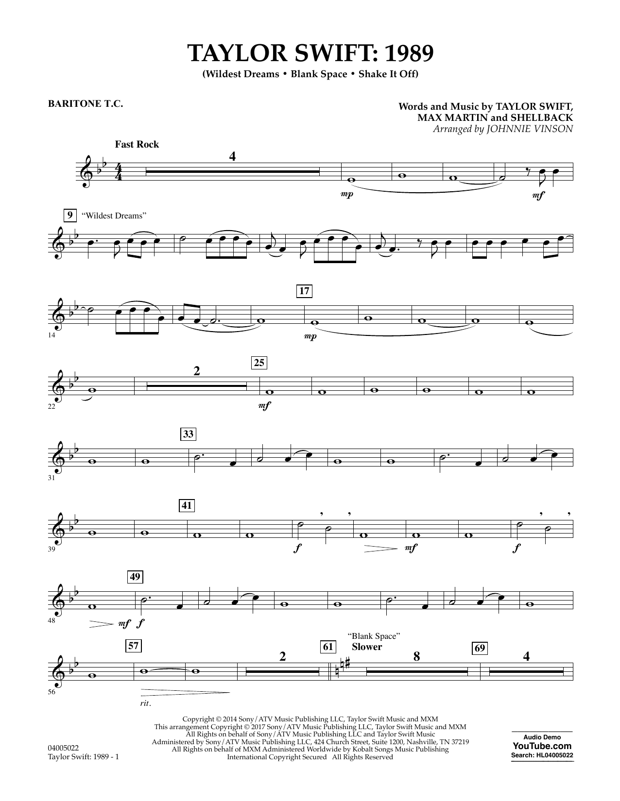 Taylor Swift: 1989 - Baritone T.C. Sheet Music