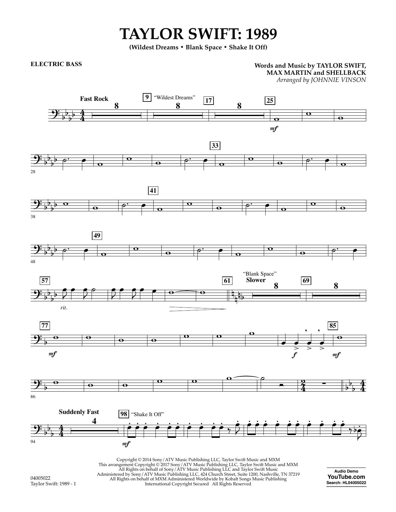 Taylor Swift: 1989 - Bass Sheet Music