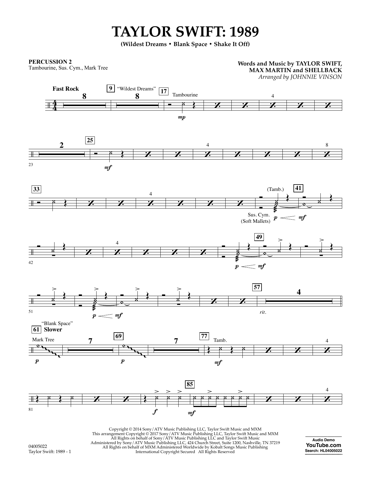 Taylor Swift: 1989 - Percussion 2 Sheet Music