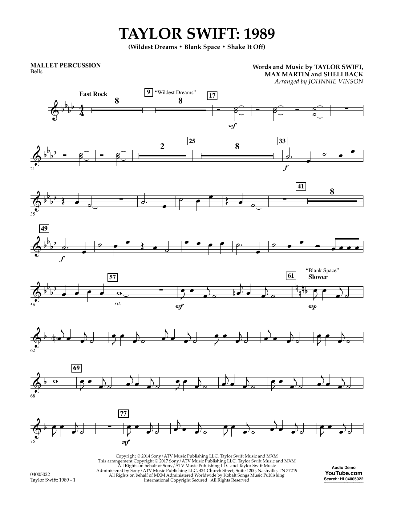 Taylor Swift: 1989 - Mallet Percussion Sheet Music