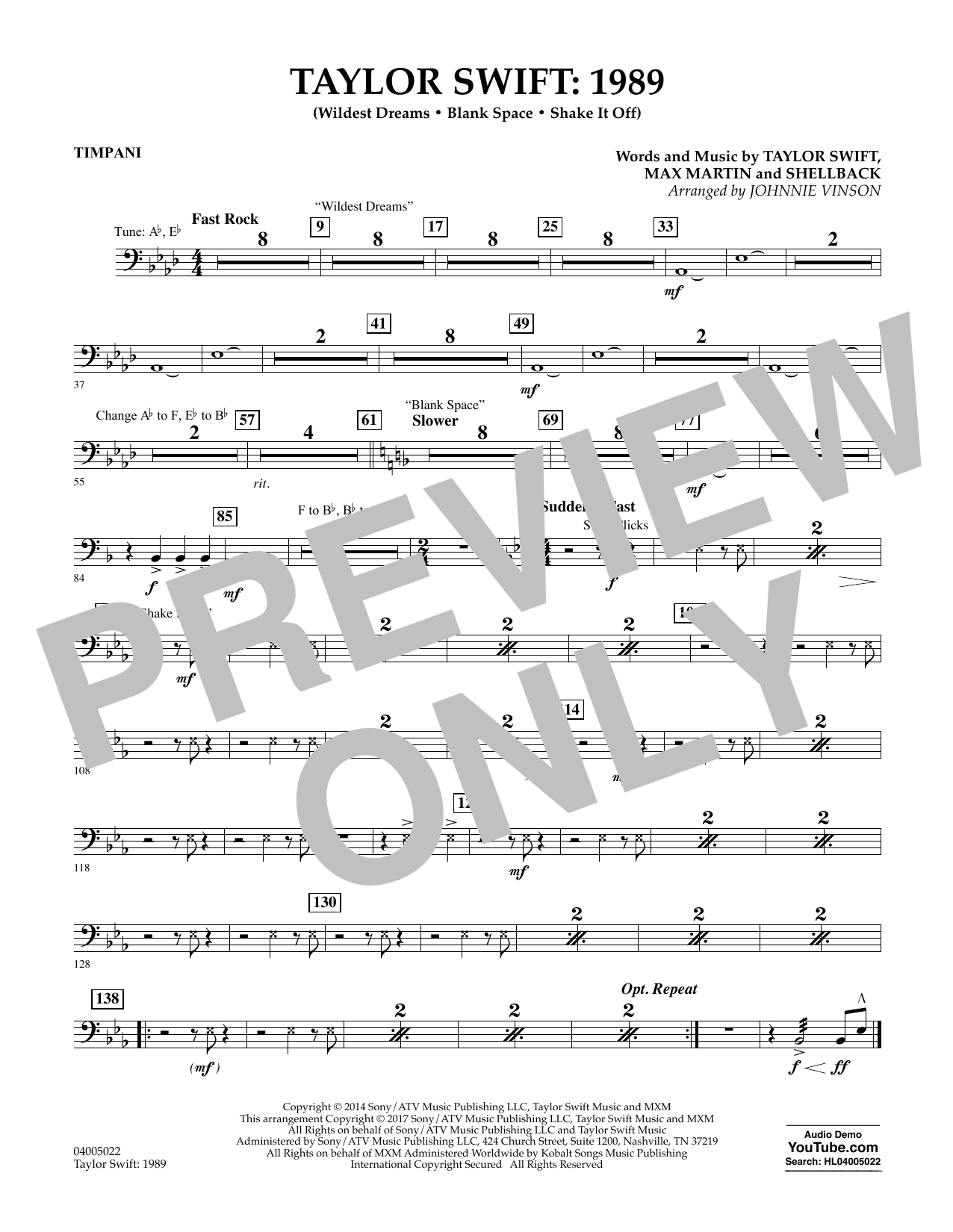Taylor Swift: 1989 - Timpani Sheet Music