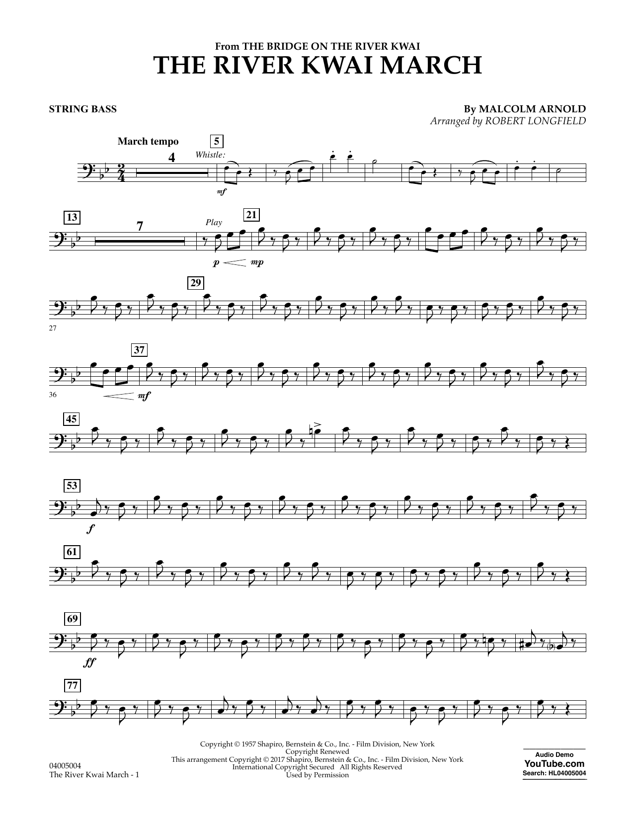 The River Kwai March - Bass Sheet Music
