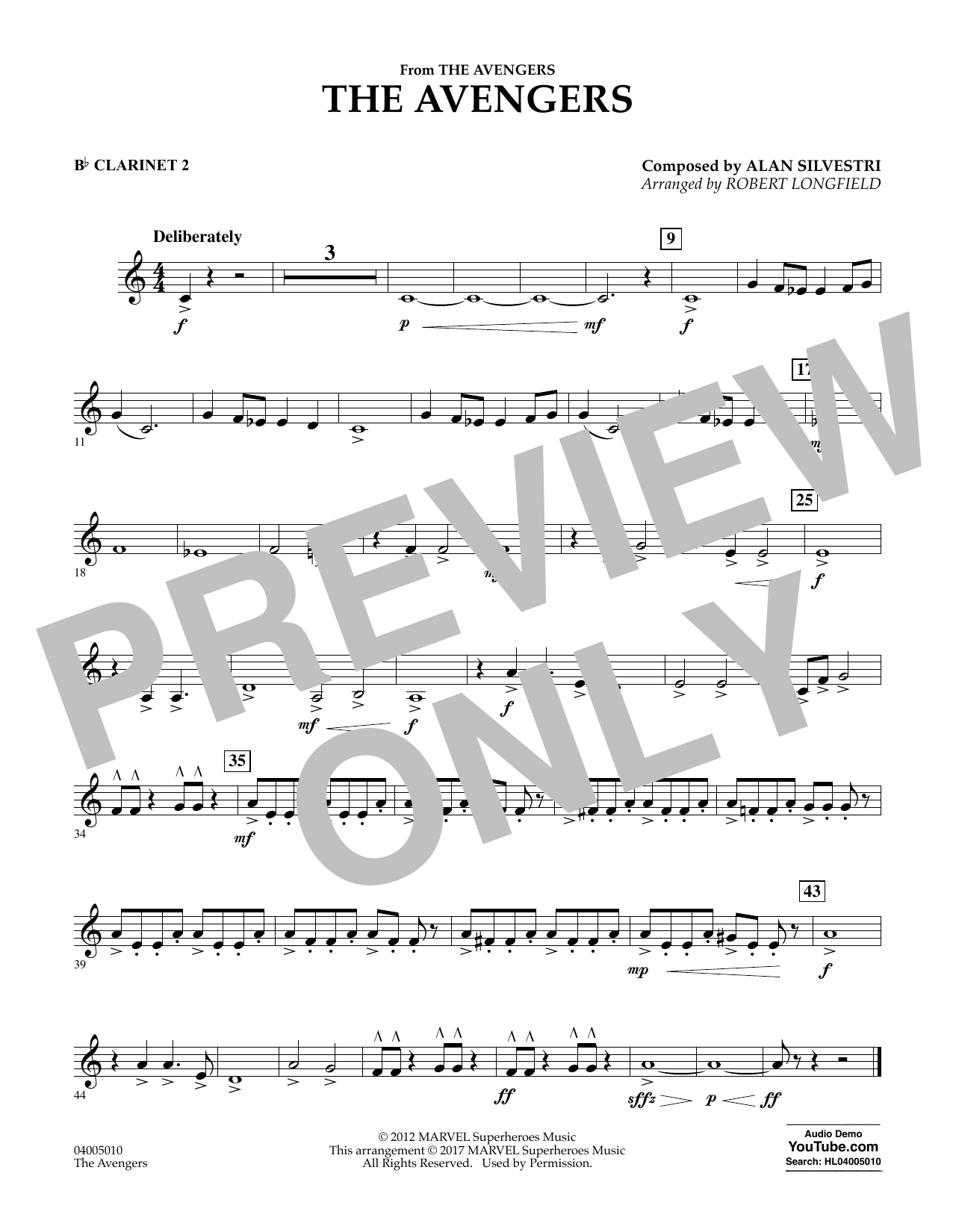 The Avengers - Bb Clarinet 2 Sheet Music