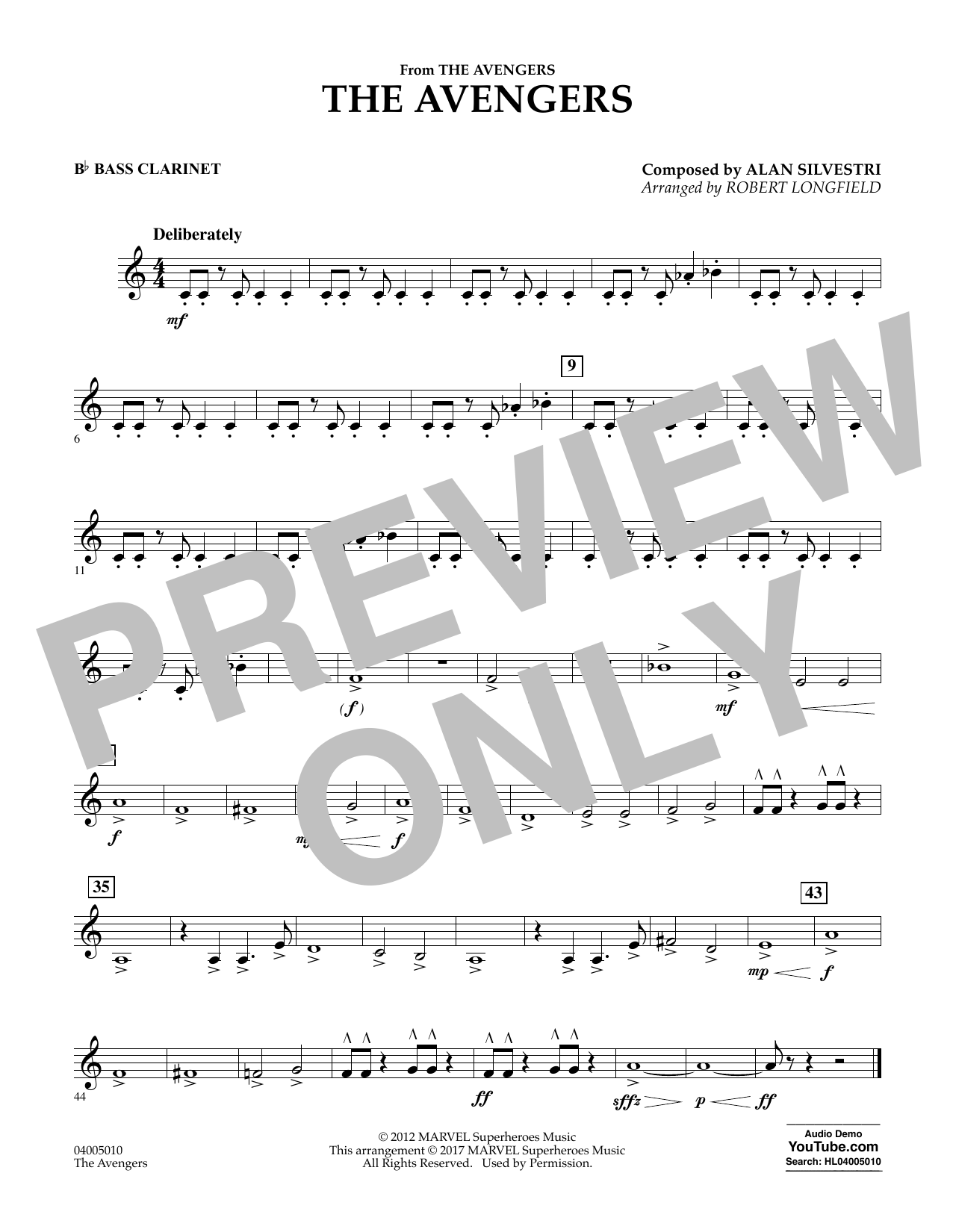 The Avengers - Bb Bass Clarinet Sheet Music