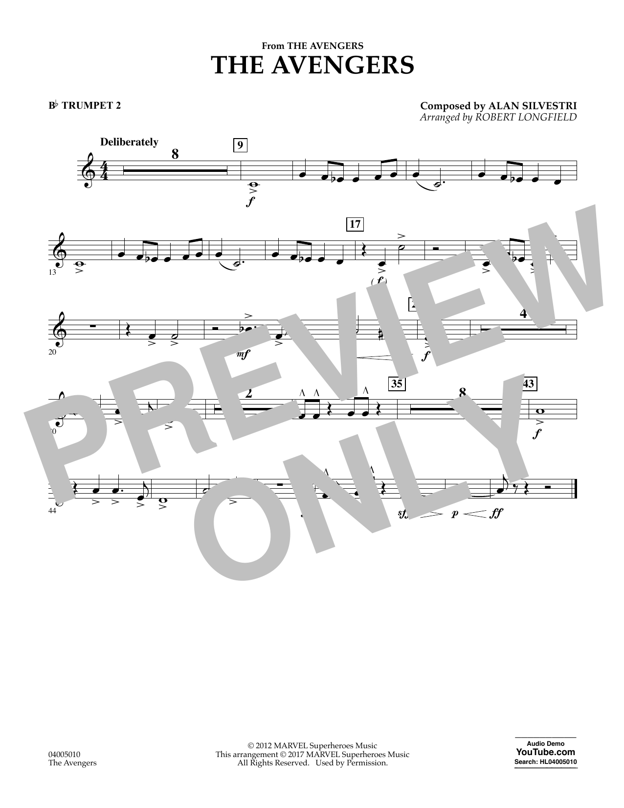 The Avengers - Bb Trumpet 2 Sheet Music
