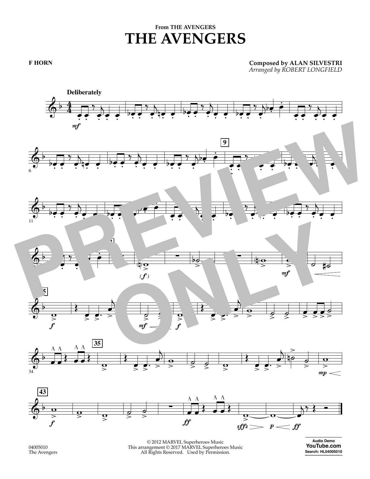 The Avengers - F Horn Sheet Music