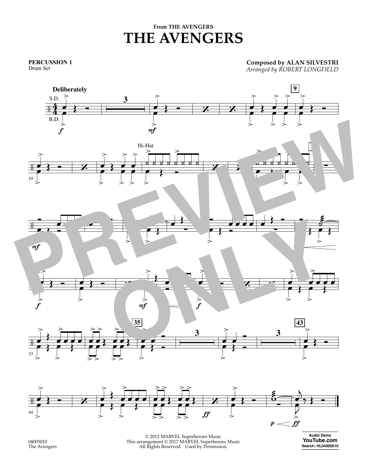 The Avengers - Percussion 1 Sheet Music