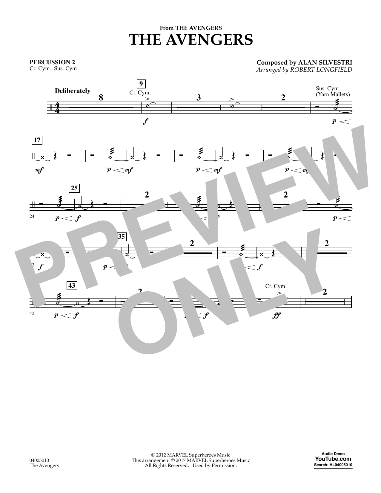 The Avengers - Percussion 2 Partition Digitale