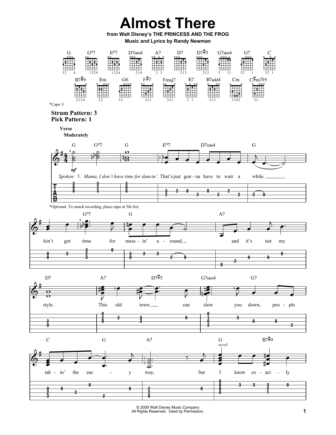 Almost There (from The Princess and the Frog) (Easy Guitar Tab)