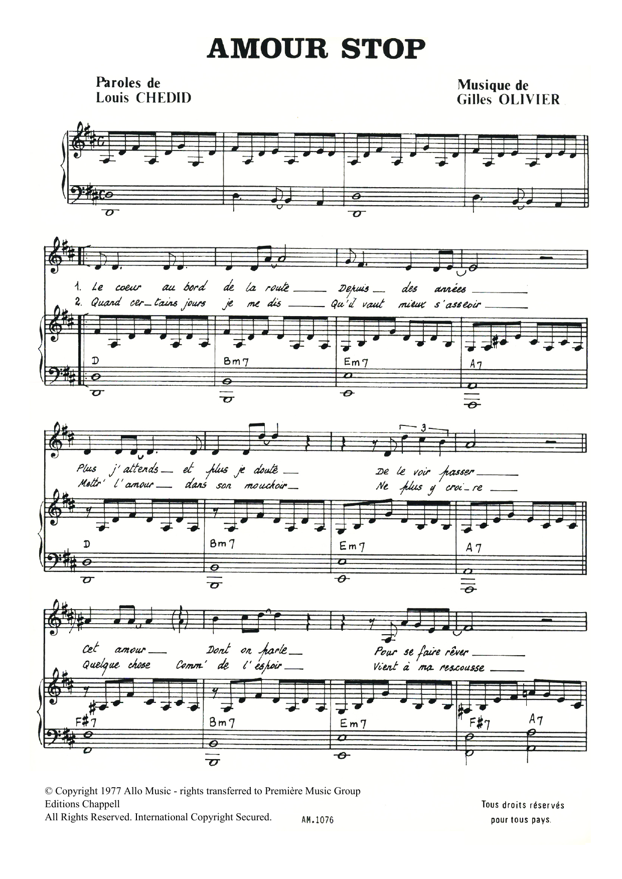 Amour Stop Sheet Music