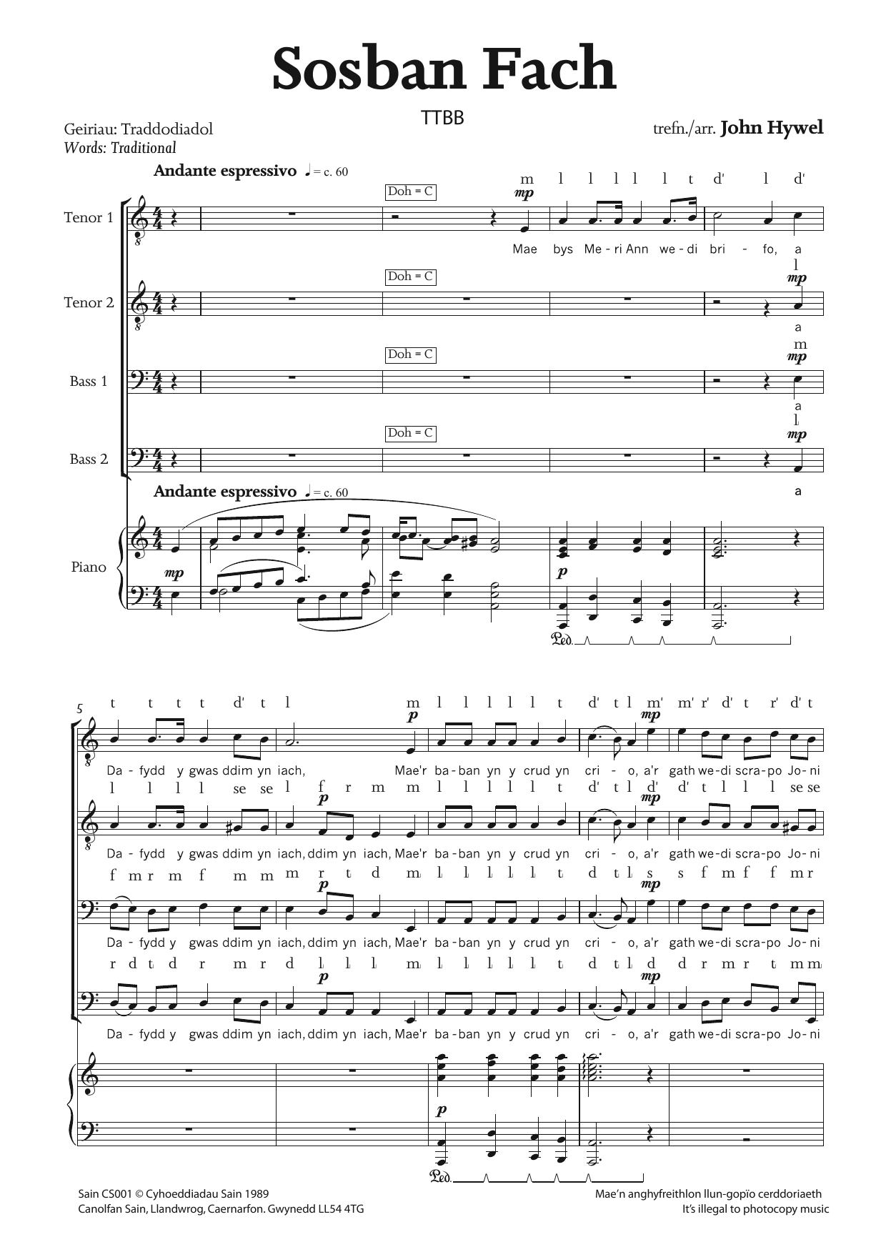 Sosban Fach Sheet Music