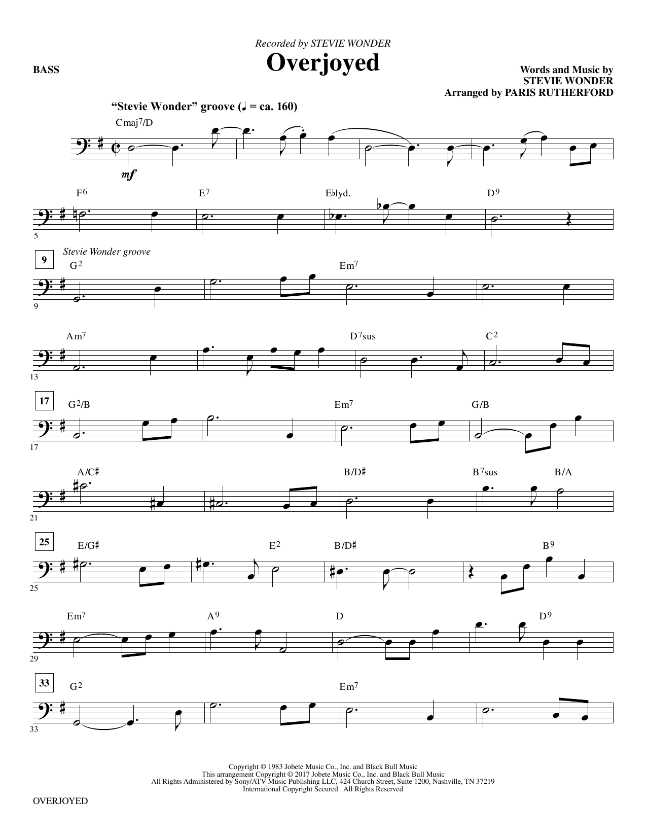 Overjoyed - Bass Sheet Music