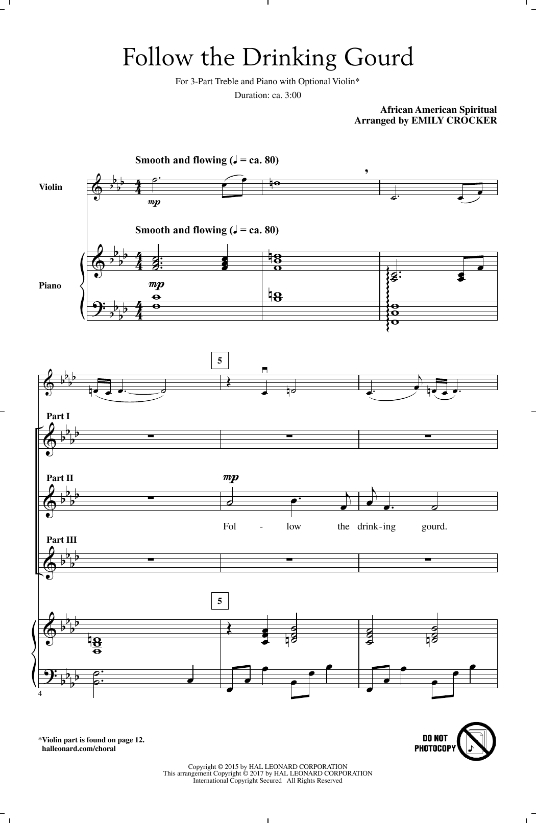 Follow The Drinkin' Gourd (3-Part Treble Choir)