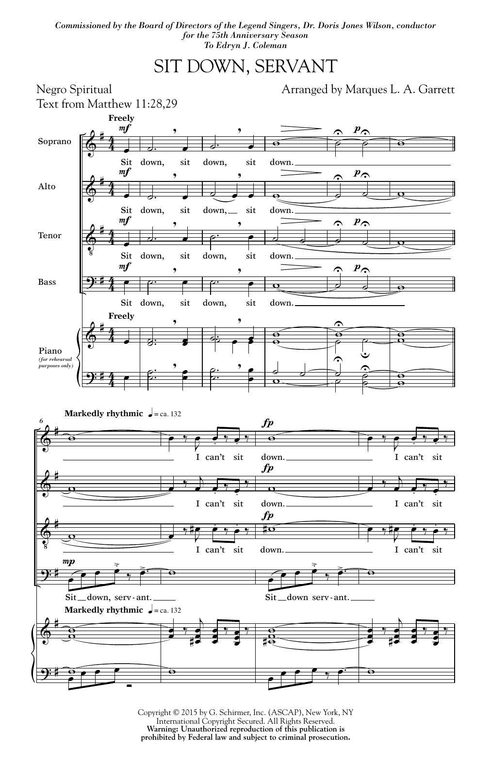 Sit Down, Servant (SATB Choir)