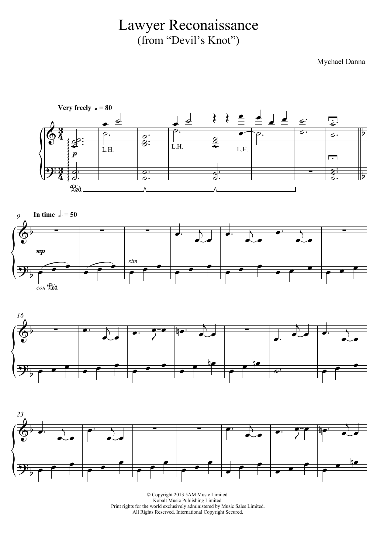 """Lawyer Reconnaissance (from """"Devil's Knot"""") Sheet Music"""