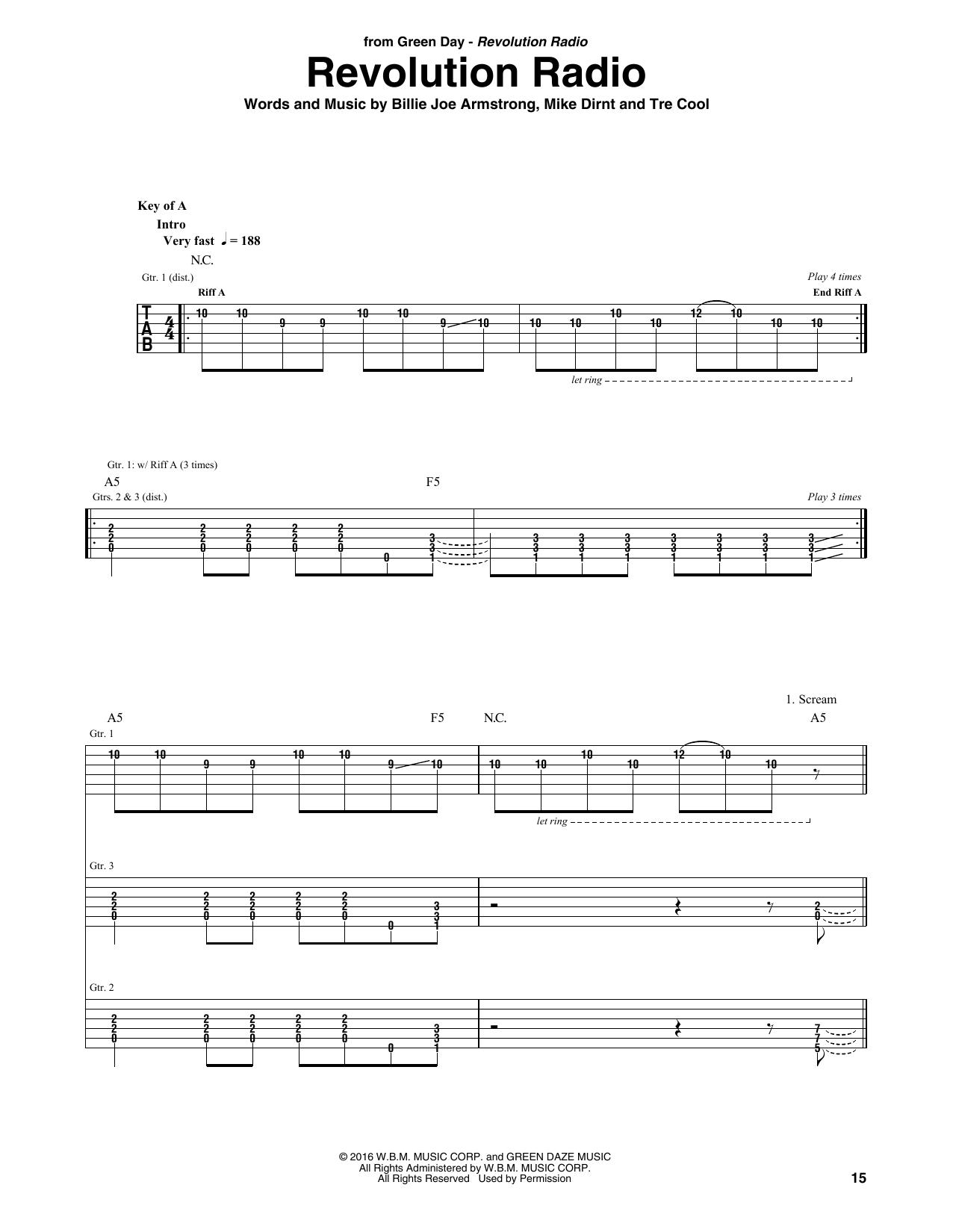 Revolution Radio Guitar Tab By Green Day Guitar Tab 178962