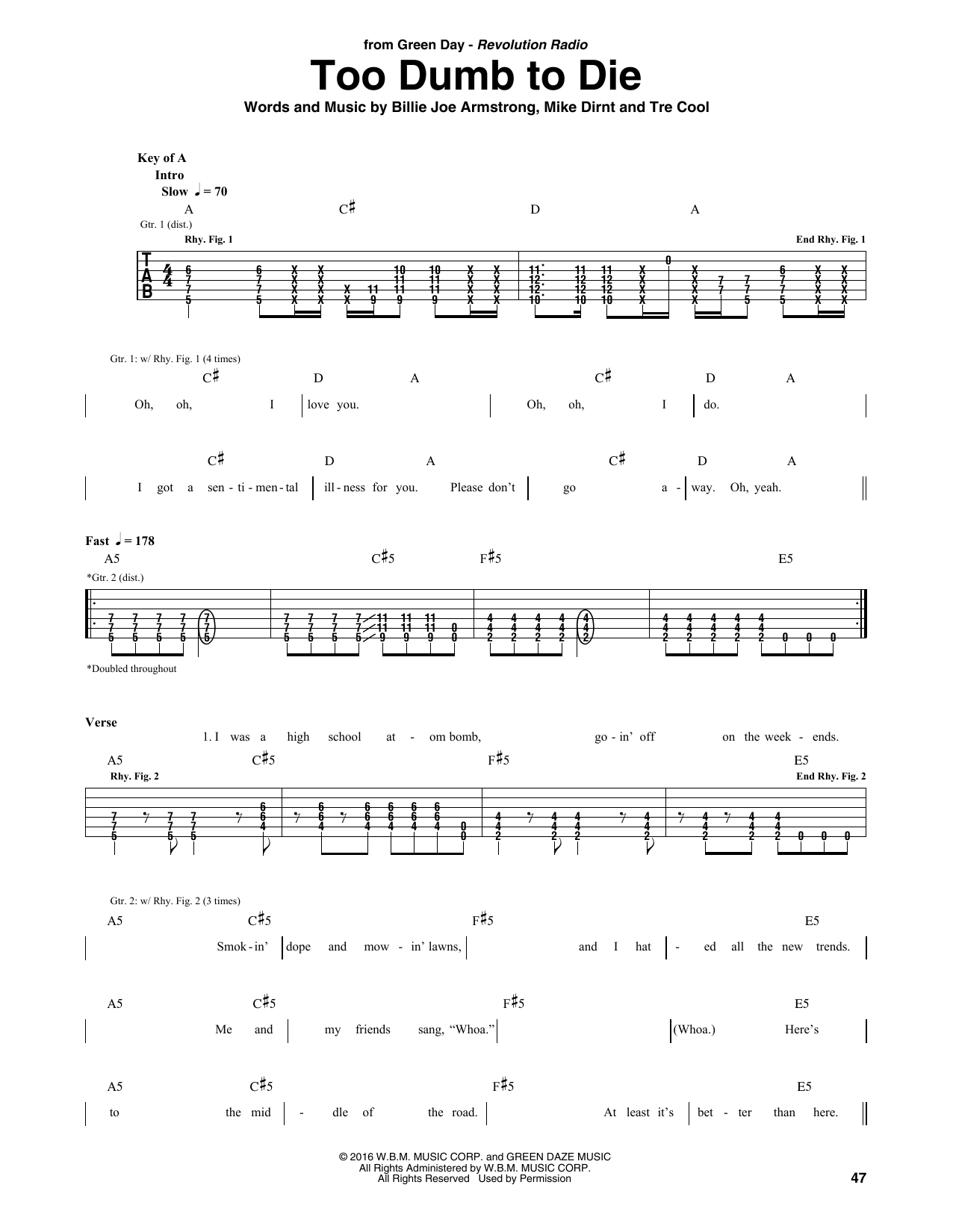 Too Dumb To Die Sheet Music Green Day Guitar Tab