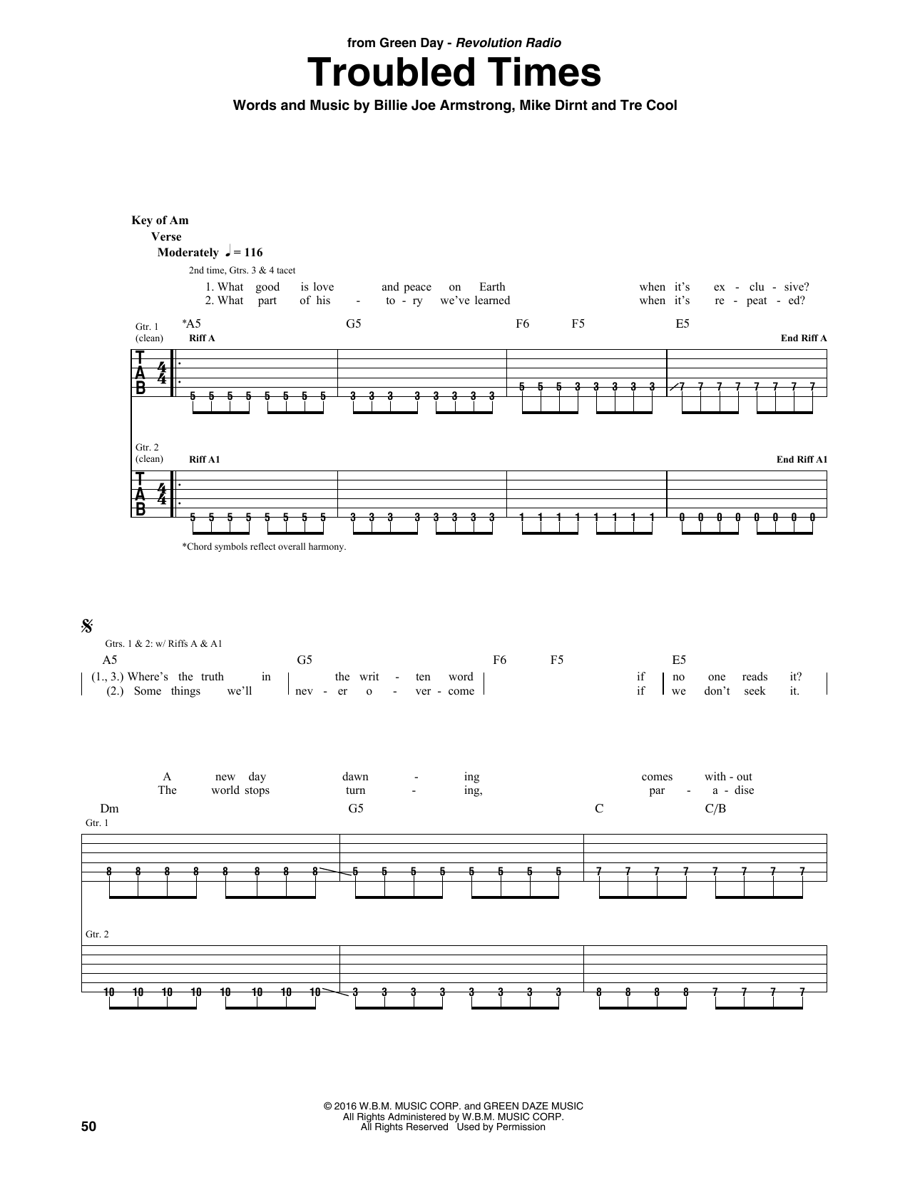 Troubled Times By Green Day Guitar Rhythm Tab Guitar Instructor