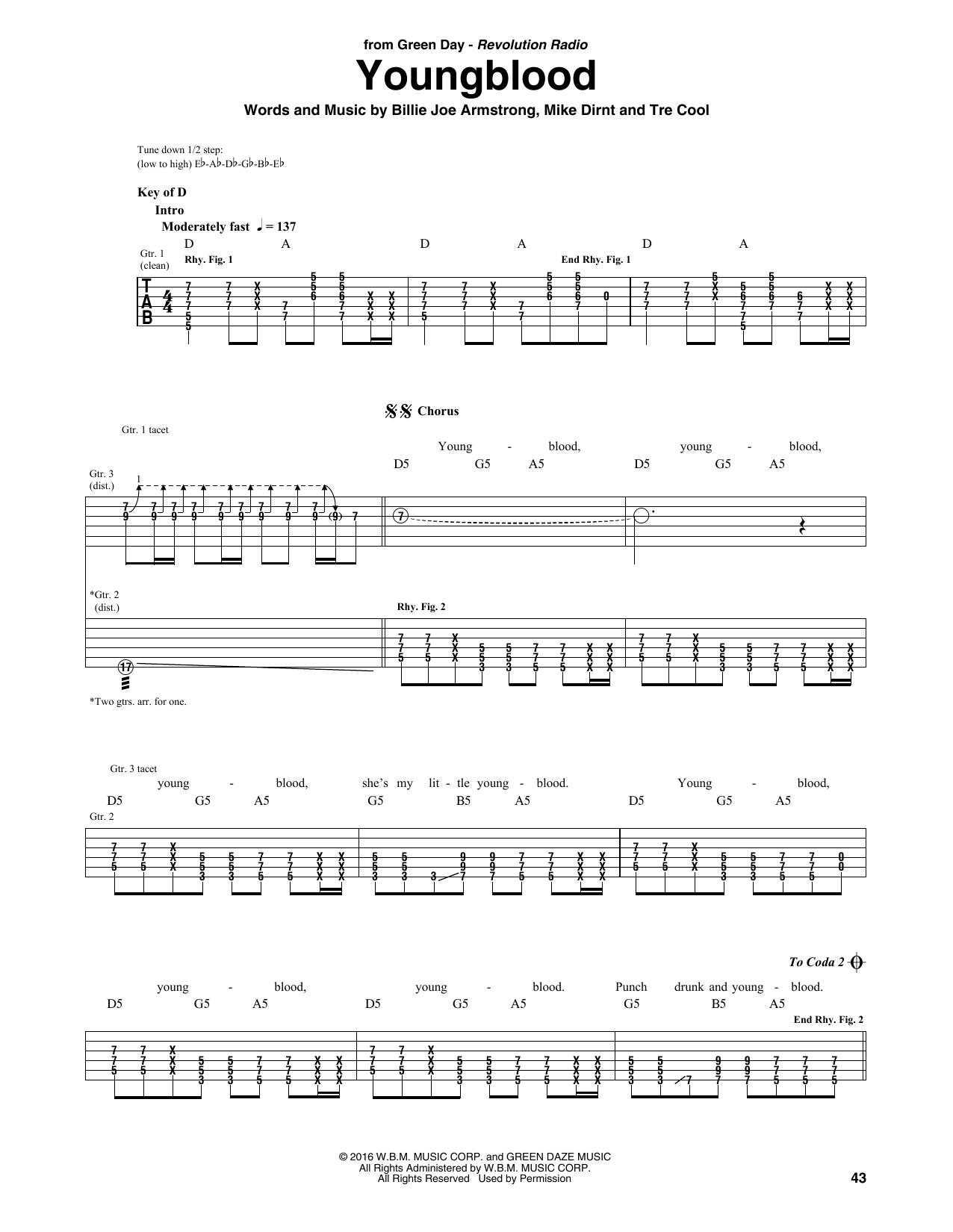 Youngblood By Green Day Guitar Rhythm Tab Guitar