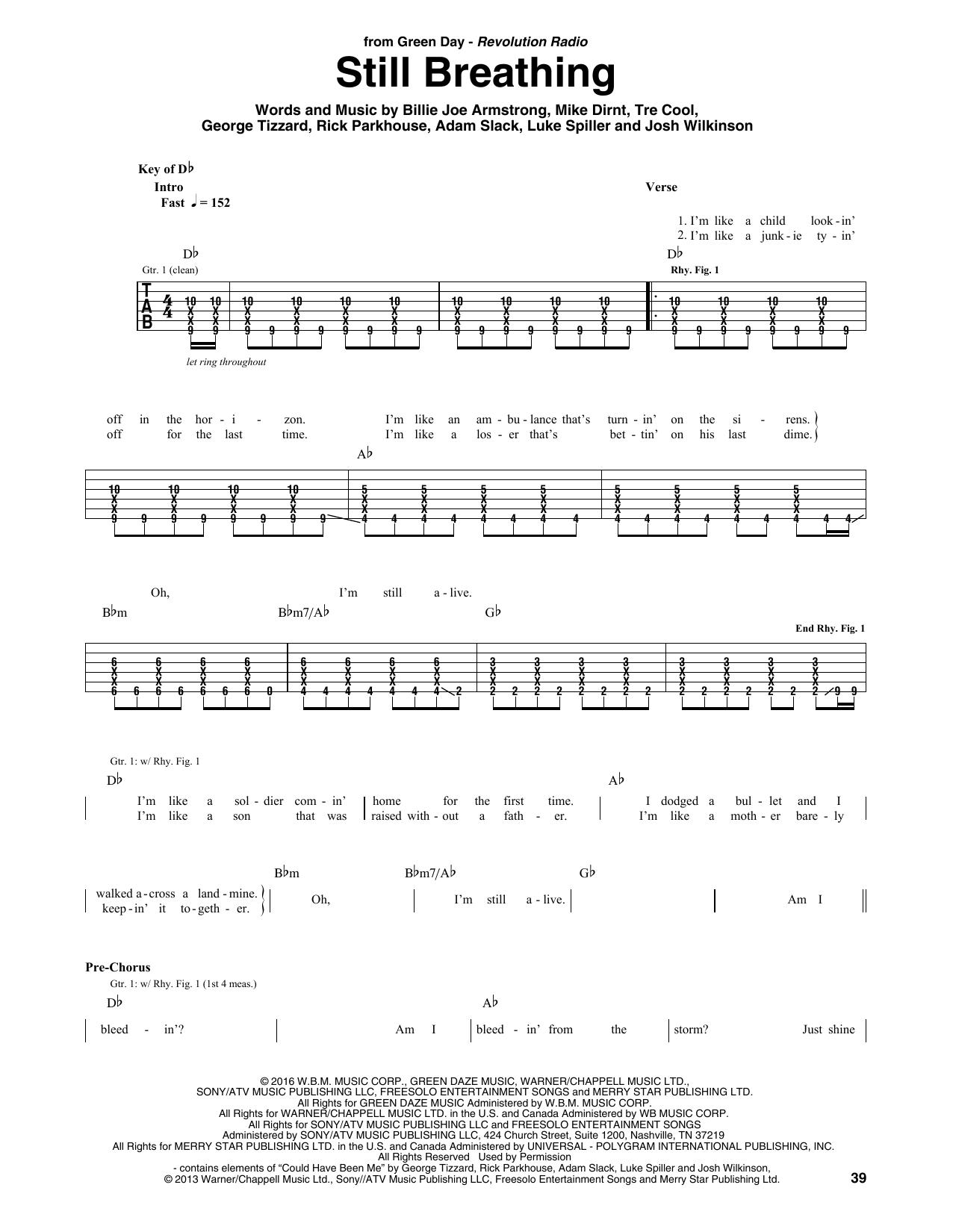 Still Breathing Sheet Music Green Day Guitar Tab