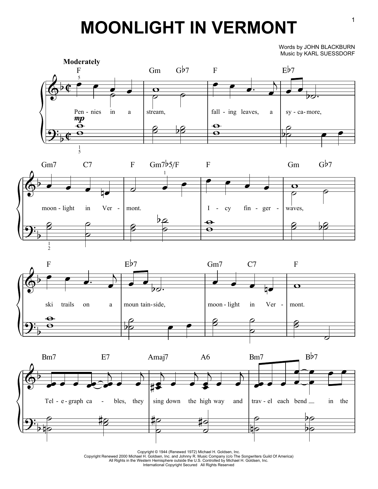 Partition piano Moonlight In Vermont de Karl Suessdorf - Piano Facile