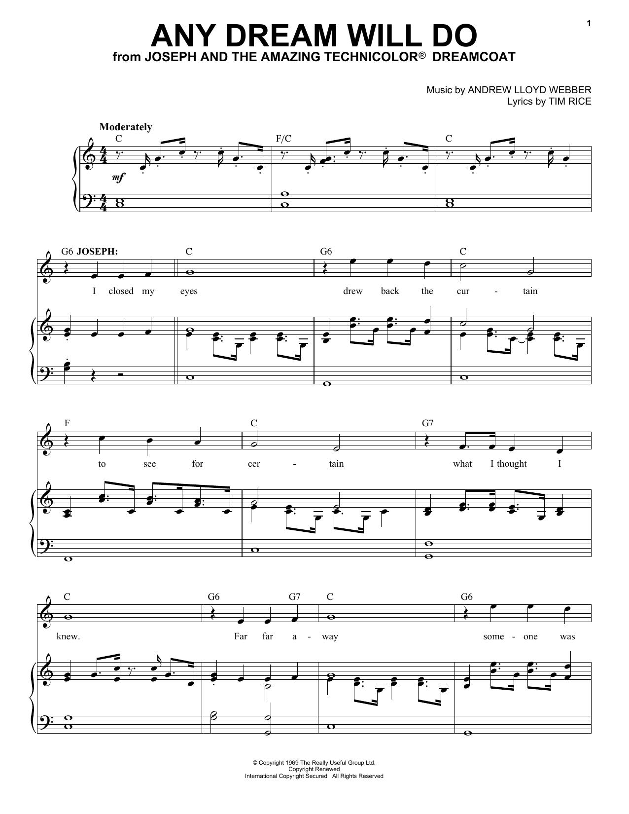 Any Dream Will Do (Piano & Vocal)