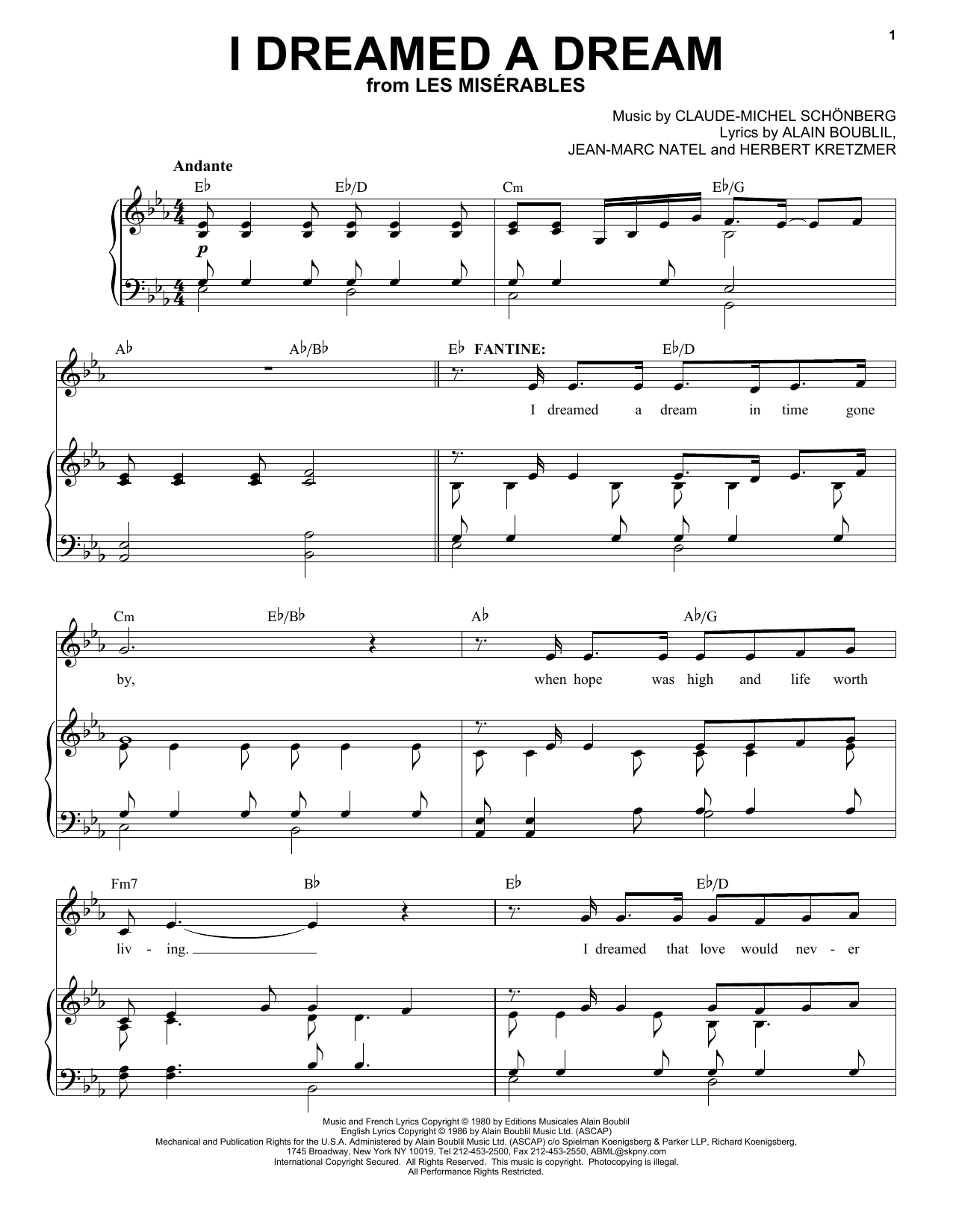 I Dreamed A Dream (Piano & Vocal)