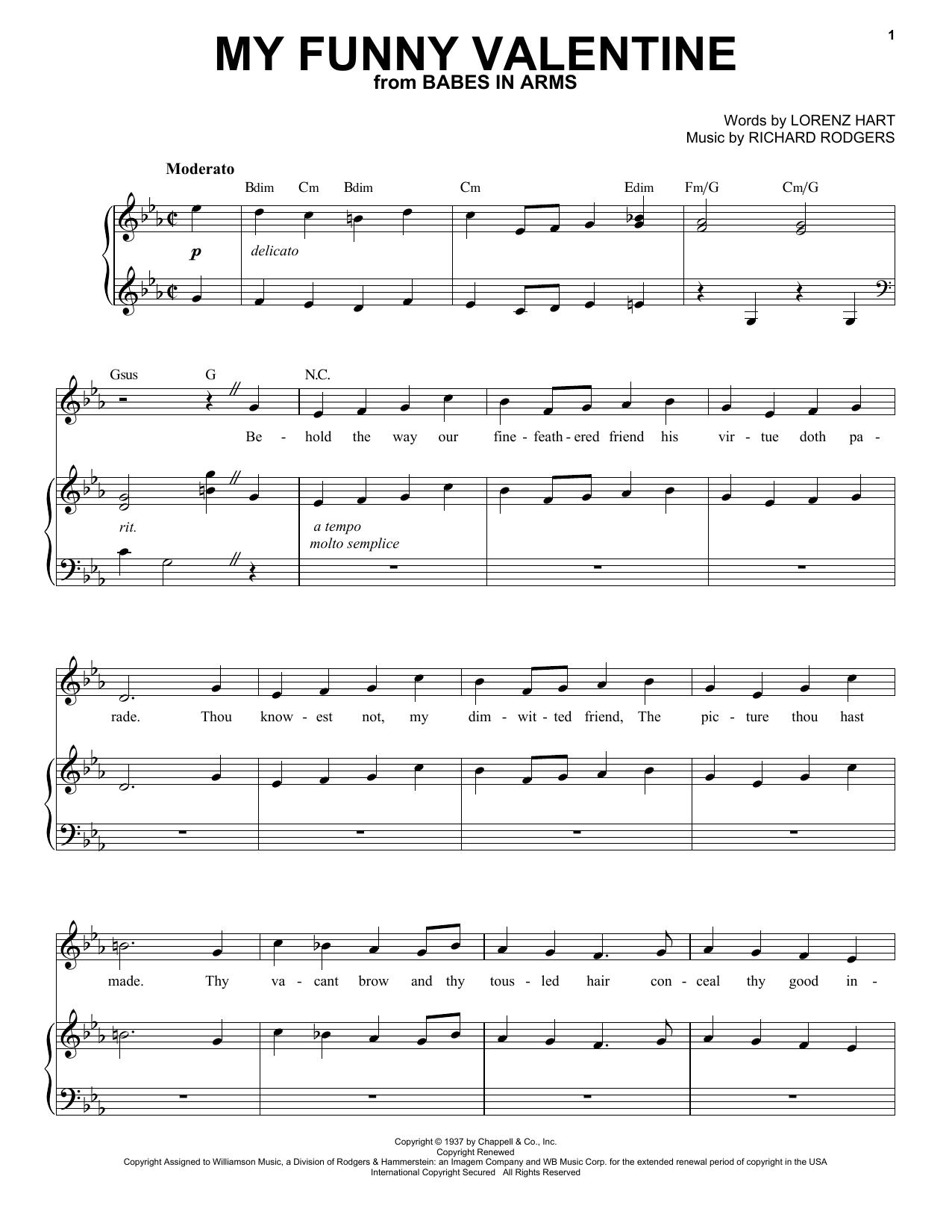 My Funny Valentine (Piano & Vocal)