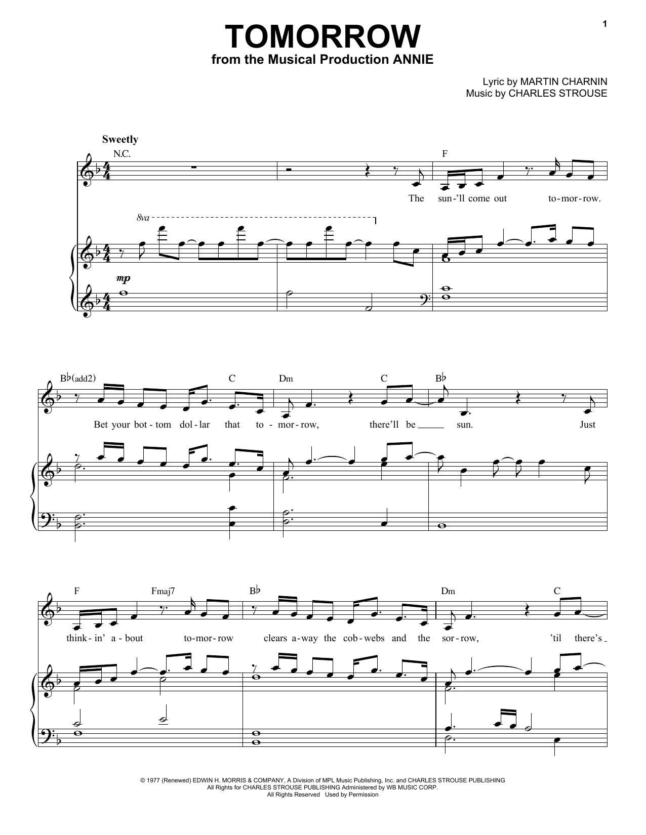 Tomorrow (Piano & Vocal)