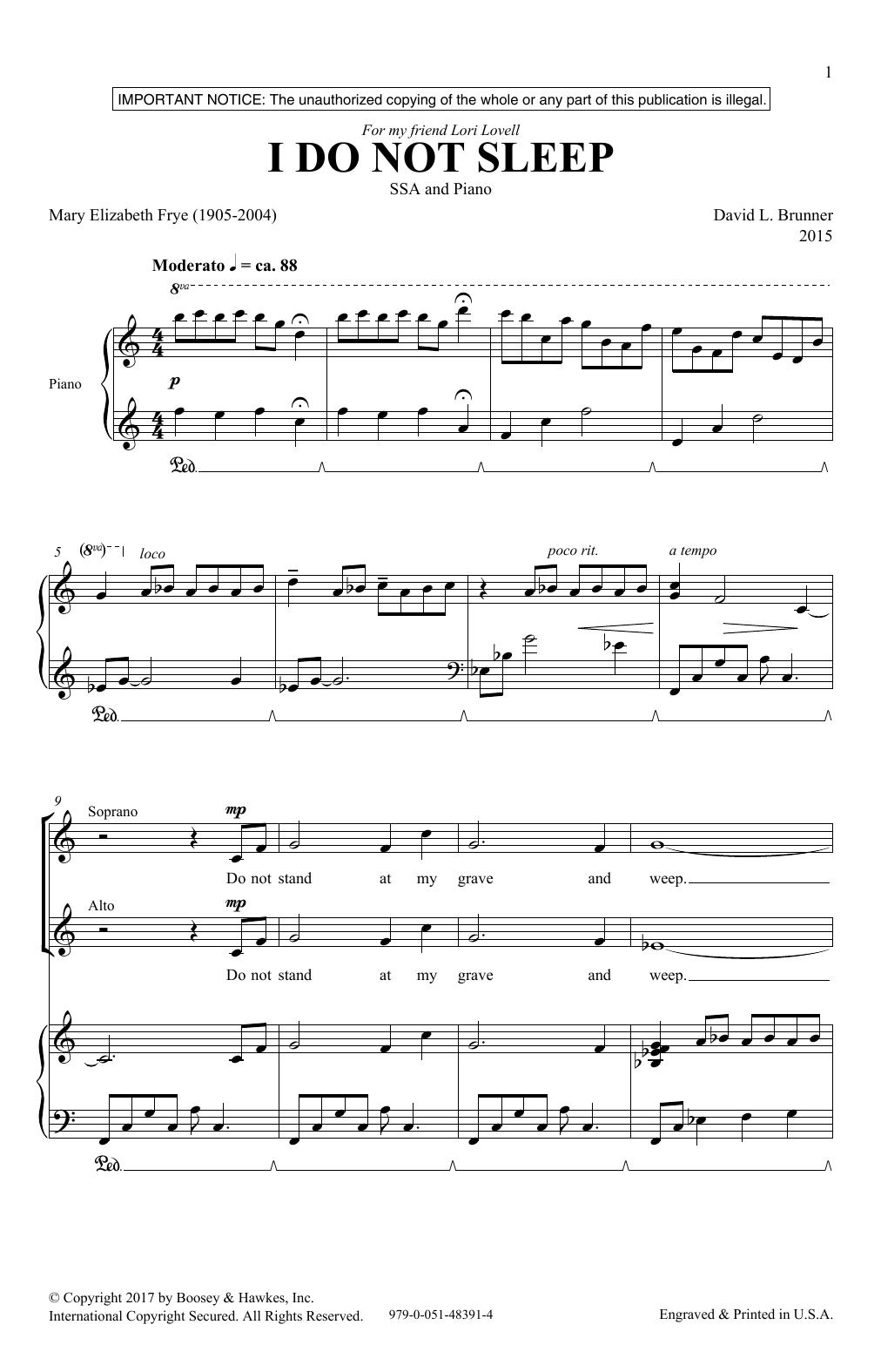 I Do Not Sleep (SSA Choir)