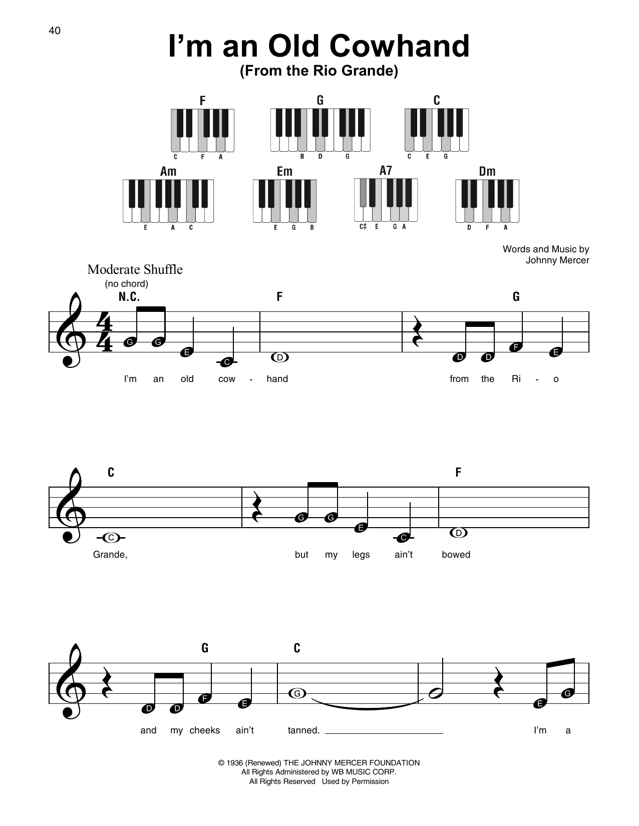 I'm An Old Cowhand (From The Rio Grande) Sheet Music